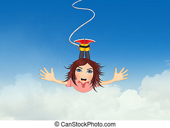girl bungee jumping - illustration of girl bungee jumping
