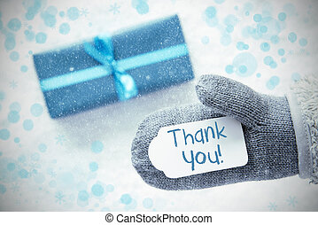Turquoise Gift, Glove, Text Thank You, Snowflakes - Glove...