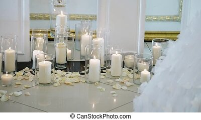Candles decoration at wedding ceremony indoors