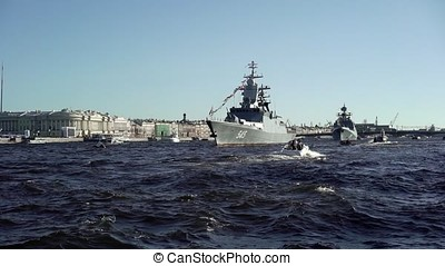 City river with war ships - City river with russian war...