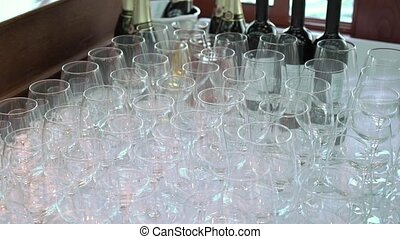 Glasses in buffet at the party