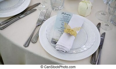 Table dishes decoration for wedding