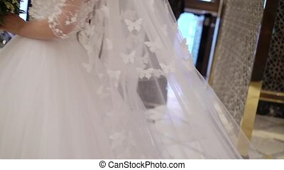 Bride walking indoors - Unrecognizable bride walking indoors