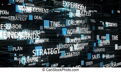 Business Related Words rotating in hyperspace