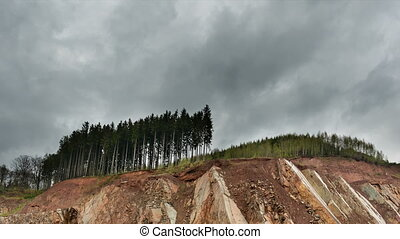Forest Remains Above Quarry Timelapse, Belgium - Timelapse...