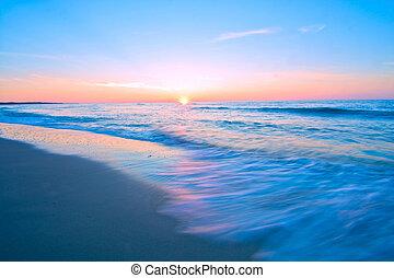 Blue sea landscape. - Sea waves and sunset. Blue sea...