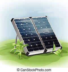Portable solar panels - Vector portable isolated solar...