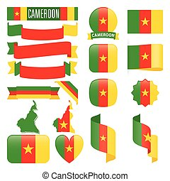 Cameroon flags - Set of Cameroon maps, flags, ribbons, icons...