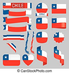 Chile flags - Set of Chile maps, flags, ribbons, icons and...