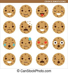 Cookie emoticons - Set of cookie emoticons with sixteen...