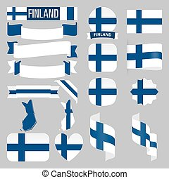Finland flags - Set of Finland maps, flags, ribbons, icons...