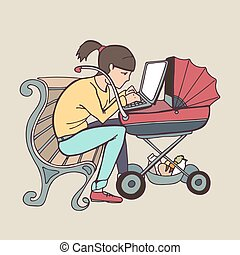 yong working mother using laptop at stroller - yong mother...