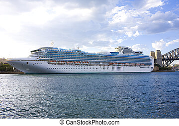 Luxury Cruiseliner at Sydney Australia - Image of a modern...