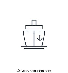 Yacht boat, cruise ship thin line icon. Linear vector symbol...