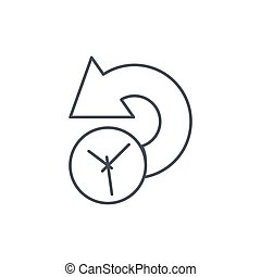 history, past time thin line icon. Linear vector symbol -...