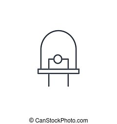 diode, led bulb thin line icon. Linear vector symbol -...