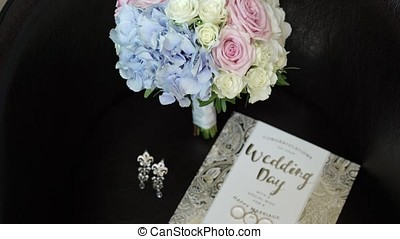 Wedding day postcard, bouquet and earrings - Wedding day...