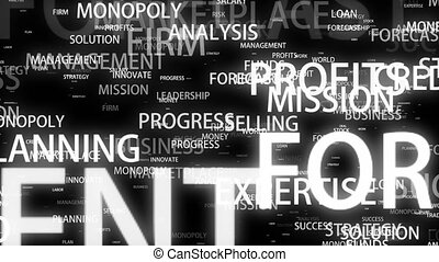 Business motivational words flying in 3d space on black...