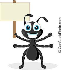 CÙte, pretas, formiga, madeira, sinal