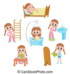 Daily morning routine set, cartoon little girl - Daily...