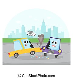 Side collision of car characters on city street