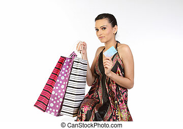 shopping woman holding  credit card