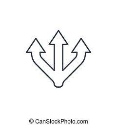 vetorial, junção, linear, símbolo, três, separação, magra,...