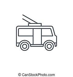 trolleybus, passenger transport thin line icon. Linear...