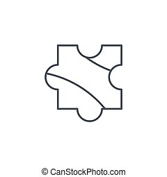 puzzle part, jigsaw piece, solution thin line icon. Linear...