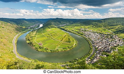 Moselle Riverbend Timelapse, Germany - Timelapse sequence of...