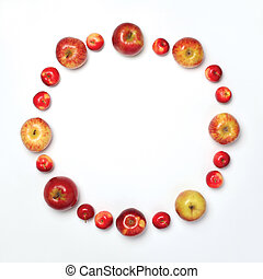 Many apples fruits in the shape of circle isolated on white background, flat lay, empty copy space