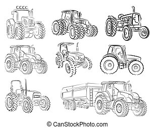 Sketches of tractors. - Sketches of different models of...