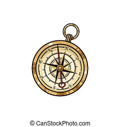 Hand drawn vintage old hand drawn compass,