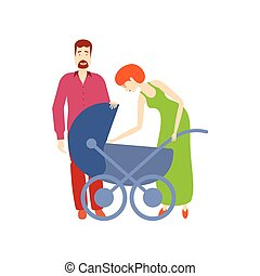 vector flat adult couple and baby stroller - vector flat...