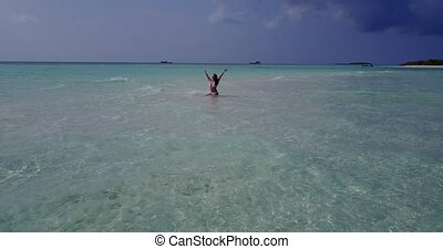 v06282 Aerial flying drone view of Maldives white sandy...