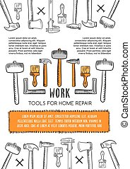 Vector poster of work tools for house repair - Work tools...