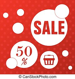 sale icon with basket in red color illustration