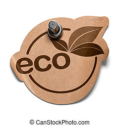 eco sticker made in kraft paper fixed on a white wall with a...