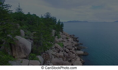 Forest and ocean aerial shot - A wide shot of the ocean and...