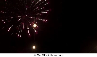 Fireworks at night sky slowmotion