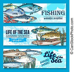 Vector fish banners for sea fishing adventure - Fishes...