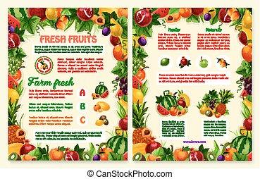 Vector brochure of tropical exotic fruits - Fruits brochure...