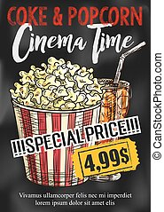 Fast food popcorn and coke vector cinema poster - Fast food...