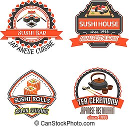 Vector icons set for Japanese sushi restaurant - S u s h i b...