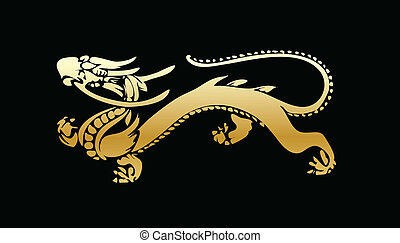 golden dragon vector illustration isolated on black