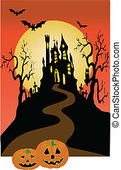 dark castle and halloween invitation vector illustration