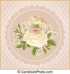 Flyer with rose graphic flowers on pink background. Wedding...