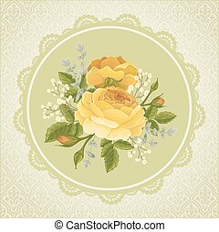 Flyer with rose graphic flowers. Wedding invitation or...