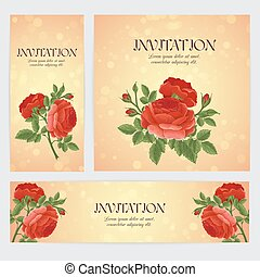 English red rose graphic flowers. For wedding invitation or...