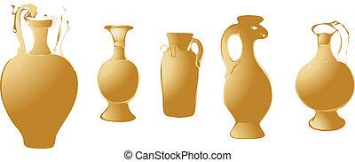 ancient bronze pots vector illustration